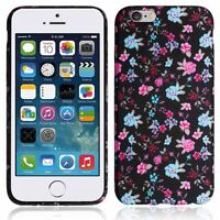 NEW Gel Black Pink Flower Printed For Apple iPhone 6G 4.7 Back Case Cover - UK
