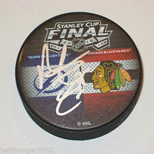 MATTHEW CARLE (Tampa Bay Lightning) signed 2015 Stanley Cup Dueling Puck w/ COA