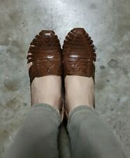 Mexican Shoes Leather Wedges Huaraches Brown han braided sandals
