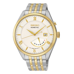 Seiko SRN056 SRN056P9 Mens Kinetic Watch Day & Date two-tone WR100m RRP $750.00