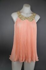 BNWT Bao Bao Mo Peach womens size small draped pleated top sequin colllar