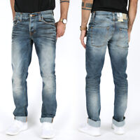 Nudie Herren Slim Straight Fit Jeans Hose | Grim Tim Used Blackcoated