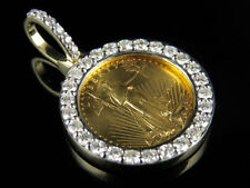 24k Solid Yellow Gold Coin Lady Liberty 1/10th Ounce Diamond Pendant 1.20ct.