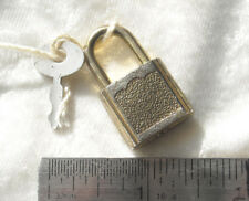Vintage SMALL Gold-tone keyed PADLOCK with KEY for luggage, diary or other use!