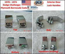 1970 74 Cuda / Challenger Chrome Inner Interior Door Lock Levers Handles E-Body