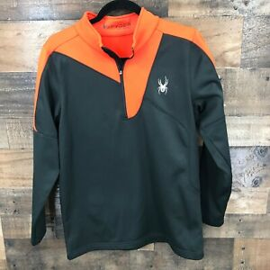 Spyder Boys Charger Therma Stretch Black And Orange 1/4 Zip Fleece Lined Mock