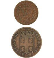 2 Pack Italy Coins 1826 Sardinia 1 Centesimo & 1842 Sardinia 5 Centesimi