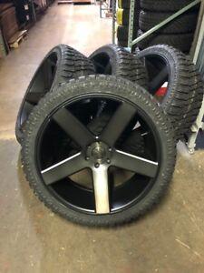"""24"""" DUB Baller Black DDT Wheels Rims & Atturo XT Tires Package 6x5.5 Chevy GMC"""
