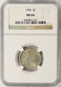 1900 Liberty Nickel 5c NGC MS64