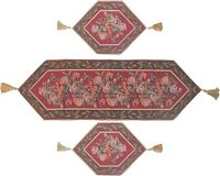 DaDa Bedding Red Floral Romantic Roses Tapestry Table Runners Mat Cloth Set 3PCS