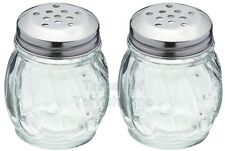 2 Kitchen Craft Glass Stainless Steel Large Hole Sugar Chilli Flake Herb Shakers