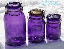 Set of 3 sizes deep PURPLE antique SECURITY SEAL Fruit Jars