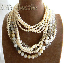 4strands 35'' White Baroque Freshwater Pearl  Agate Faceted Crystal Necklace