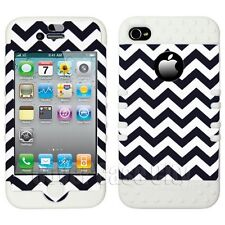 Black White Chevron Stripes Cover w/ White Impact Case for Apple iPhone 4 4S 4GS