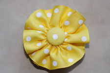 """Yellow  w/ White dots Round Hair Bow on a 3"""" bow clip barrette new, perfect"""