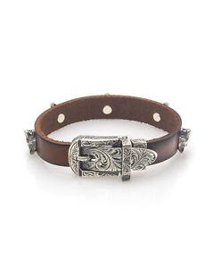 Gucci Anger Forest Sterling Silver & Leather Bracelet YBA524907001016 MSRP $950