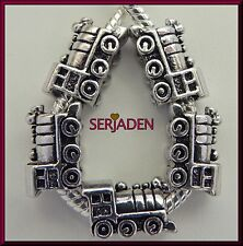 5 Antique Train Locomotive Charm Bead for Charm Bracelet Ship from USA S079