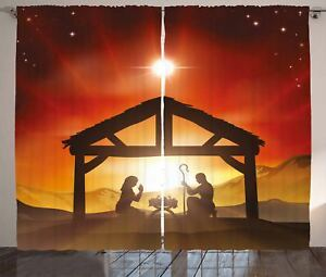 Religious Curtains Baby Messiah Nativity Window Drapes 2 Panel Set 108x90 Inches