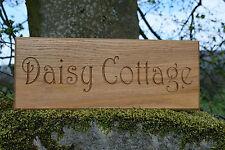 Personalizzata Oak House Sign, intagliato, personalizzato inciso all'aperto in Legno Nome Placca