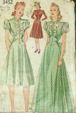 New ListingSimplicity 3452 Sewing Pattern Dress Size 14 Formal Vintage 1940 Complete