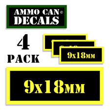 """9 x 18mm Ammo Can 4x Labels Ammunition 3""""x1.15"""" stickers decal 4 pack YW"""