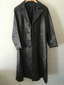 Vintage Soft  Brown LEATHER  Belted  Full Length Coat    Medium