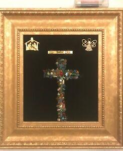 ORIGINAL OOAK Jewelry Art Christmas Religious Cross lights up!!