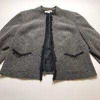 Shomi Women Size 18 Open Front Blazer Jacket Black Speckle Career Business A1121