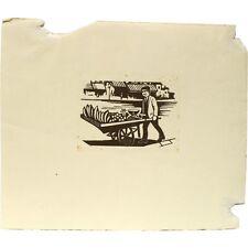 SENZA CORNICE ORIGINALE LEGNO incise su legno Barrow Boy FRUIT SELLER stampa Albert Cooper