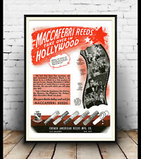 Maccaferri reeds :  Vintage Musical instrument poster reproduction.