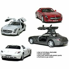 "Brand New 5"" Kinsmart Mercedes Benz SLS AMG Diecast Model Toy Car 1:36 SET OF 4"