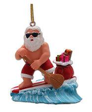 Hawaiian Christmas Poly Resin Ornament Santa SUP Surf Hawaii Mele Kalikimaka NIB