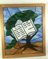 """Vintage Stained Glass Tree With Bible Verse Framed Window Panel 19 3/4"""" X 23"""""""