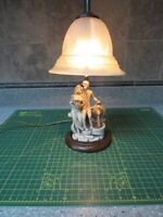 VINTAGE line of old murano young couple by fountain accent lamp made in italy