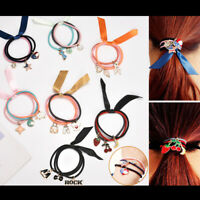 Novelty Enamel Pendant Elastic Hair Ties Band Rope For Girls Ponytail Holder