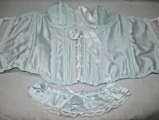 NWOT Victoria's Secret BRIDAL Corset Top +Leg Garter SMALL Light Blue White Lace