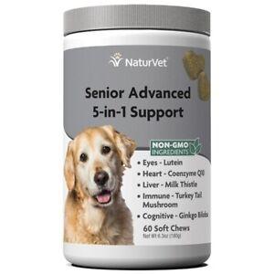 Naturvet 5-in-1 SENIOR Dog Advanced Support Eyes Heart Liver Immune Q10 60ct