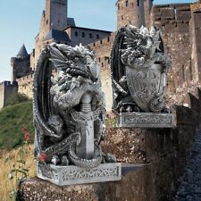 Cl92897 The Arthurian Dragon Statues: Set of 2 Sword & Shield - Medievil Gothic!