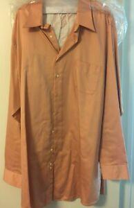 Geoffrey Beene Men's 20 37/38 wrinkle free tall shirt in muted/soft orange
