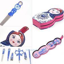 6pcs Cute Doll Shape Nail Art Manicure Tools Set Case Nails Clipper Tweezer Kits