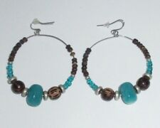 Dangle Earrings Hoops Wooden Beaded Turquoise Blue Statement Unique Boho CHIC