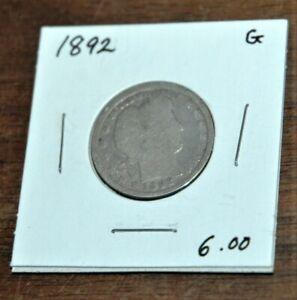 1892 P Liberty Head Barber quarter Ungraded - nice starter set coin SILVER