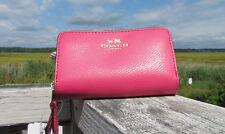 NEW COACH $95 double zip coin purse 63921 crossgrain leather dahlia pink logo
