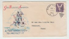 "[65901] 1942 WWII PATRIOTIC ENVELOPE ""GOD BLESSED AMERICA - A TWO OCEAN NAVY..."""