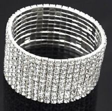 Womens Silver Crystal Clear Diamante Expanding Bangle Bracelet Stretch 10 Rows