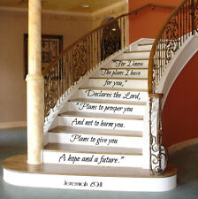 Psalm Wall Decal Quote Family Decal Stair Riser Vinyl Sticker Stairs Decor KY145