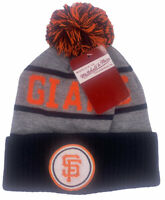 SAN FRANCISCO GIANTS MITCHELL & NESS MLB GRAY CUFFED KNIT WINTER BEANIE CAP NWT