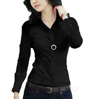 Long Sleeve Fitted Shirt Career Collared Office Womens Blouse Smart Top Size