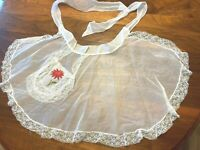 "Vintage Apron Christmas Poinsettia Flower Red & White Lace Sheer Mesh 63"" Tie L6"