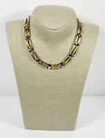 Vintage Necklace Chunky Gold & Silver Tone Flat Lay Collar Length Snap Clasp